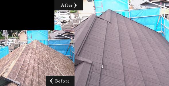 屋根の重ね葺き工事