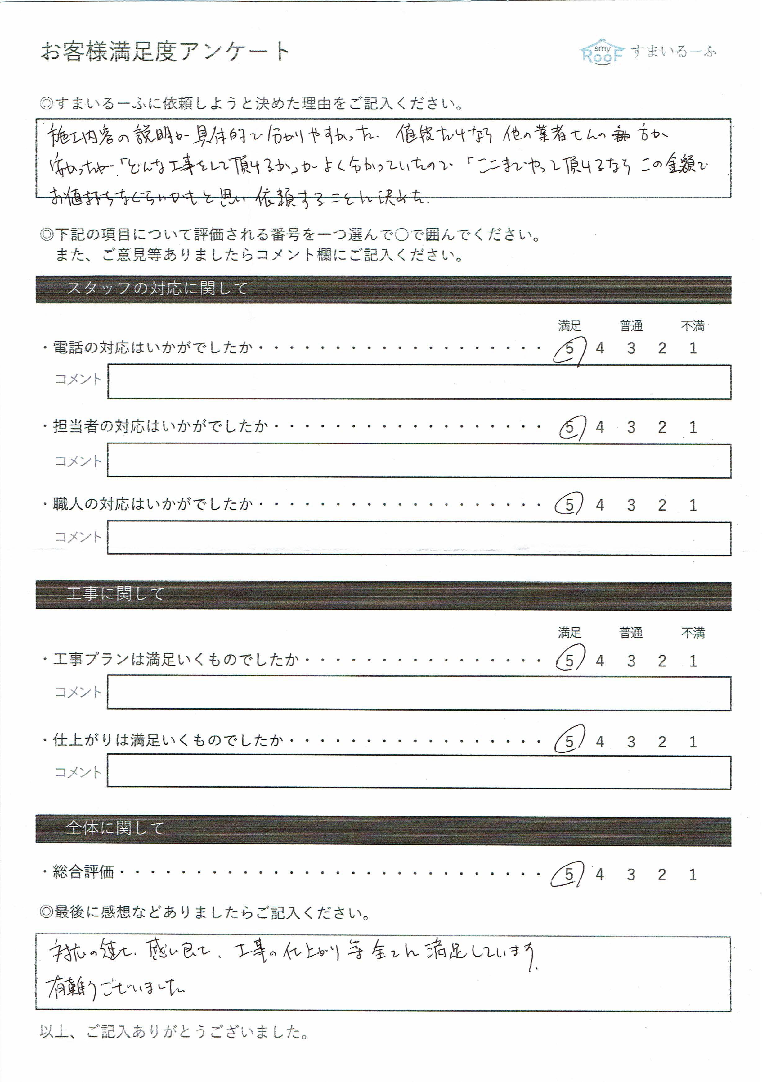 大阪府高槻市K様のお客様の声アンケート
